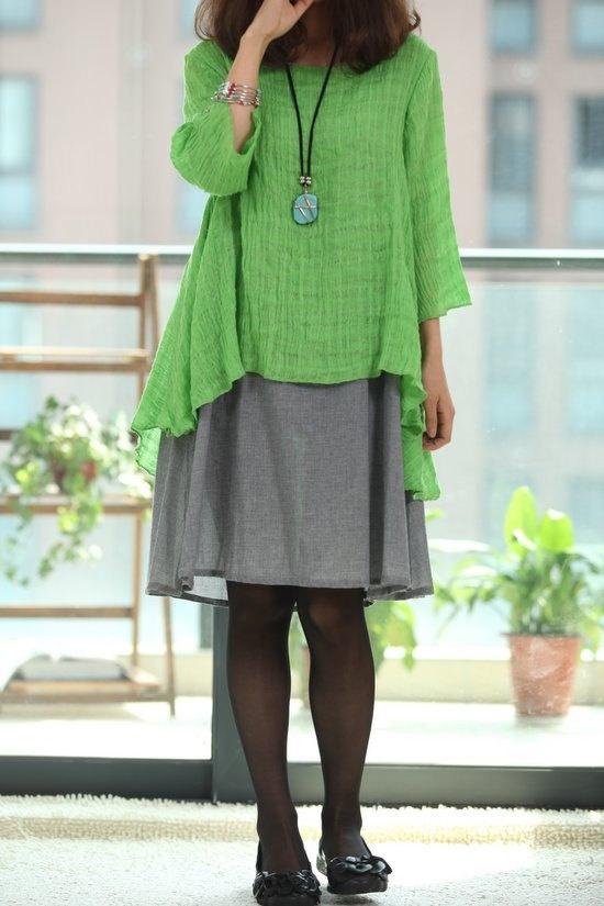 elegant Cotton dress Double layered half sleeve dress. $89.00, via Etsy.
