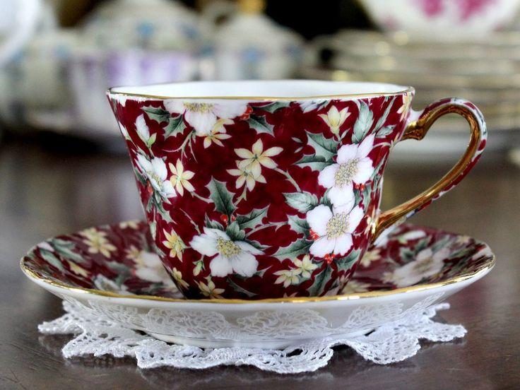 Sadler Holiday Chintz Cup and Saucer, Porcelain Christmas Teacup 15289