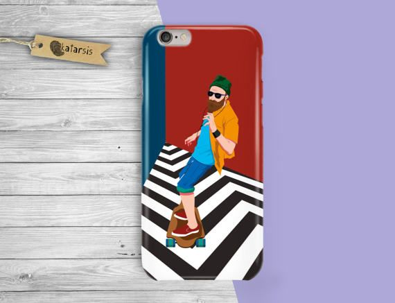 Skateboard Cool Man iPhone 7 Case iPhone 6 Case by KatarsisFactory