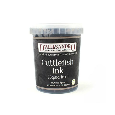 "Long prized for its ability to color and flavor food in Mediterranean cuisines, Cuttlefish Ink (Squid Ink) is often used in pasta, rice and seafood dishes to turn them a deep black color and provide a briny, umami-rich flavor.  D'ALLESANDRO® Cuttlefish Ink, like most products marketed as ""Squid Ink"" to chefs and home cooks, is actually made from the ink of the cuttlefish, which has a more pleasant taste Just a small amount will impart a deep color and flavor Use care when handling, as…"