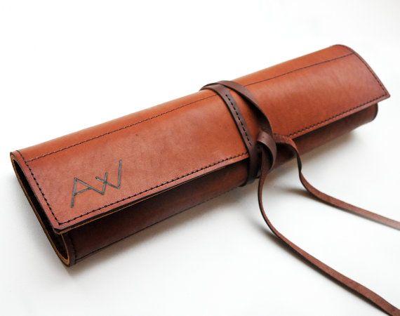 Cuchillo de chef de cuero del rodillo, cuchillo personalizado caso, bolso de cuero marrón de chefs