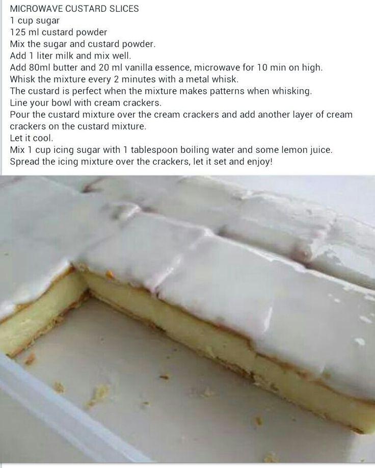 Microwave custard slice with cream crackers.