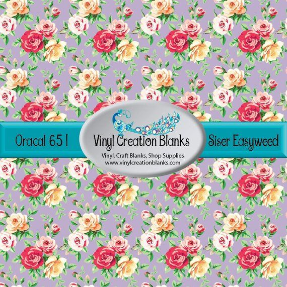 Oracal Or Siser Printed Vinyl Floral Pattern On Dusty Lilac Etsy Patterned Vinyl Htv Vinyl Floral Pattern