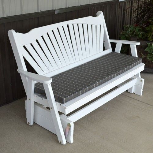 A&L Furniture Co. Fanback Outdoors Porch Glider Bench - 581, 582, 583