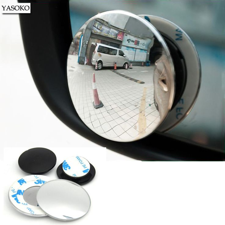 1 pair Newest 360 Degree frameless ultrathin Wide Angle Round Convex Blind Spot mirror for parking Rear view mirror high quality *** Click on the image for additional details.
