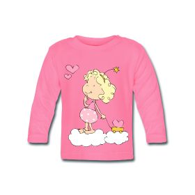 Suave camiseta de manga larga para bebés con botones en el cuello - 100 % algodón #mycshopspreadhirt #mycshop #tshirtbaby #camisetabebe #pinkshirt #fasionbaby