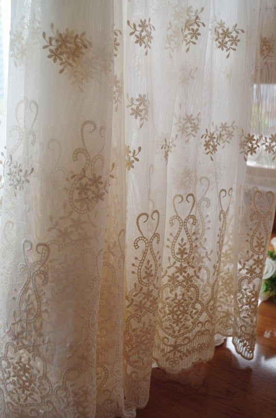Ivory Cream Lace Fabric Embroidered Tulle Lace Fabric Mesh Etsy Lace Fabric Tulle Lace Curtains