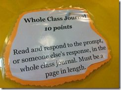 anchor activities- whole class journal where students respond to one another.