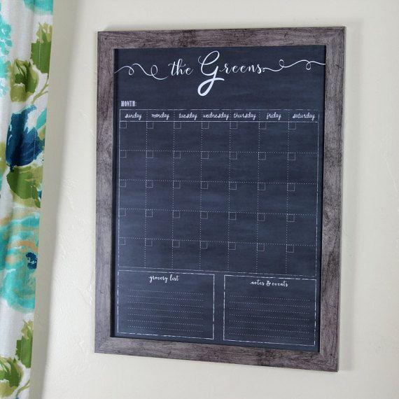 Family Calendar, Custom Chalkboard Dry Erase Family Calendar, 18x24 framed calendar, Christmas Gift