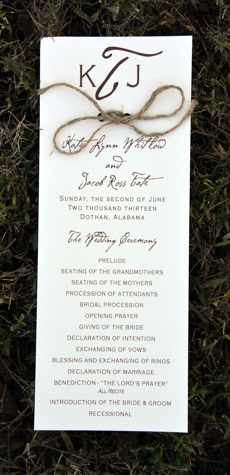 Rustic Wedding Programs from Wiregrass Weddings tied with twine!