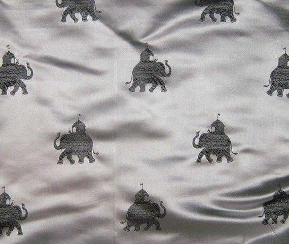 Cute little elephants: Silk Brocade