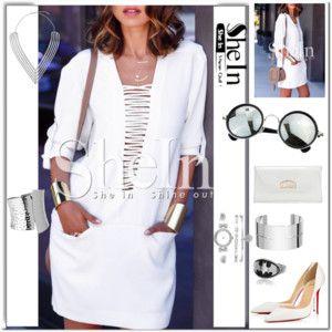 White Long Sleeve Pockets Dress