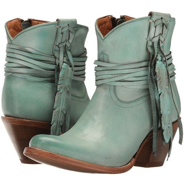 Lucchese Robyn (Turquoise) Cowboy Boots ($275) ❤ liked on Polyvore featuring shoes, boots, mid-calf boots, fringe ankle boots, short cowgirl boots, western bootie, high heel bootie and short cowboy boots