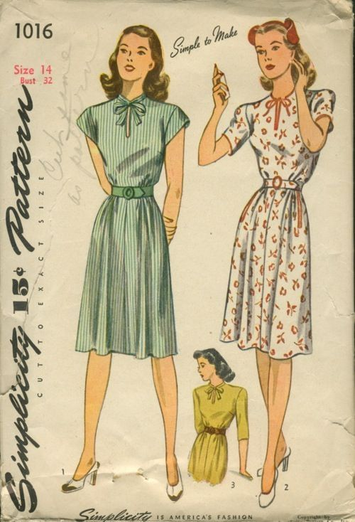 A simple, but oh-so-sweet warm weather 1940s dress pattern. #1940s #forties…