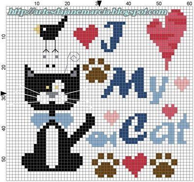 Cross stitch chart: I love my cat. Artes da Jane: Ponto cruz