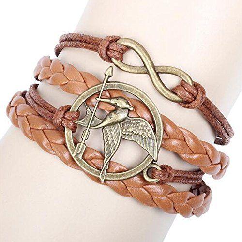 Afoxsos The Hunger Games Merchandise Leather Bracelet Cord Mockingjay @ niftywarehouse.com #NiftyWarehouse #HungerGames #TheHungerGames #Movie