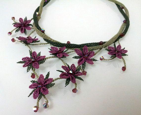 crochet necklacePurple Necklaceplum by needlecrochet on Etsy, $85.00