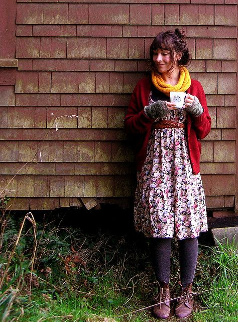 Why pack summer dresses away for the winter?  Warm them up for fall/winter with tights, a cardigan, scarf, and wrist warmers.