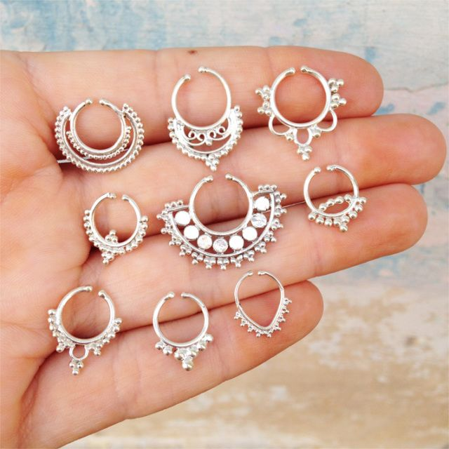 SHANTIQUE DESIGNS ➳ sterling silver septum rings.  www.shantiquedesigns.com