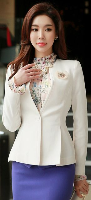 StyleOnme_Single Button Collarless Flared Jacket #white #elegant #jacket #koreanfashion #feminine #kstyle #springtrend #seoul