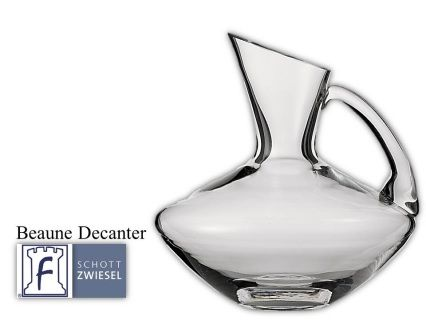 Beaune Decanter 1 L 33.8(oz) 9.0(H) 9.7(W) Tritan crystal glass: non-lead material of titanium and zirconium oxide; resists breakage, chipping, scratching; thermal shock resistant; patented Red wine aerates as it flows down the sides in a beautiful pattern;  DISHWASHER SAFE will not etch, cloud or discolor for the life of the glass Made in Germany Product Code 0019.112183 SHIPPING IN CANADA ONLY!