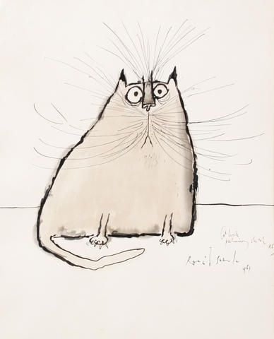 Ronald Searle (British, born 1920),   Study of a cat