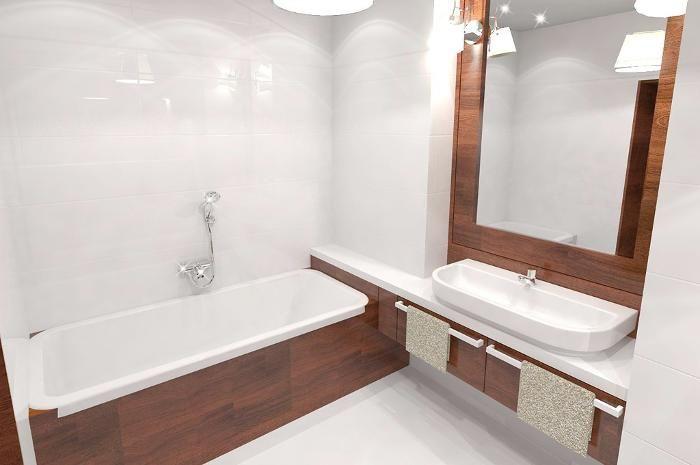 Aranżacja łazienki wystrój klasyczny w kolorach biel, brąz - projekt wnętrza #9057593, Homplex