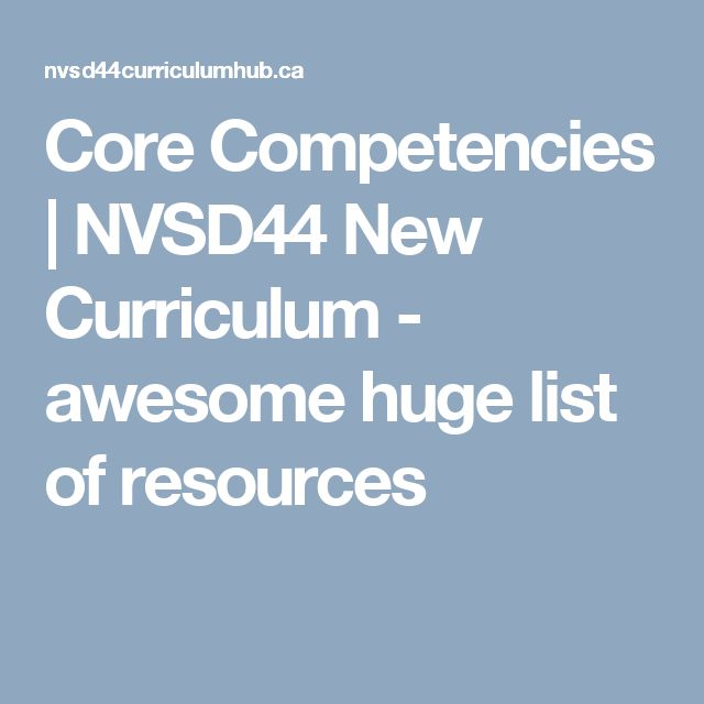 Core Competencies | NVSD44 New Curriculum - awesome huge list of resources