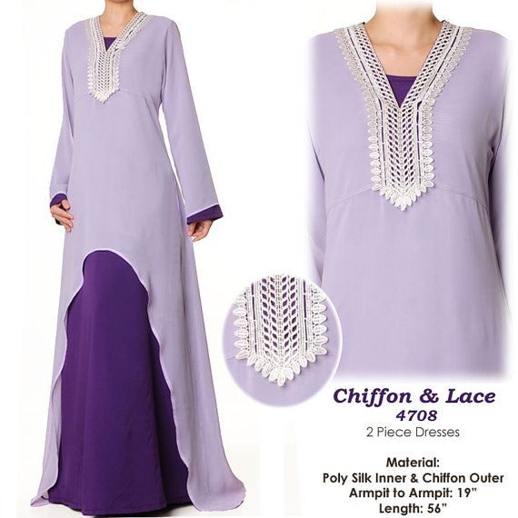 Purple Lavender Lace Chiffon Abaya Islamic Long by MissMode21, $34.00