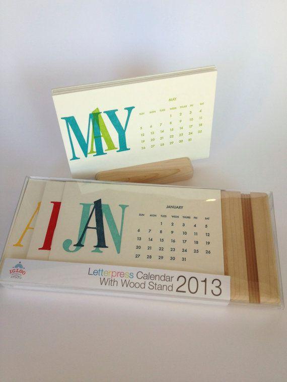 2014 Letterpress Desk Calendar with Wooden by IglooLetterpress, $24.00