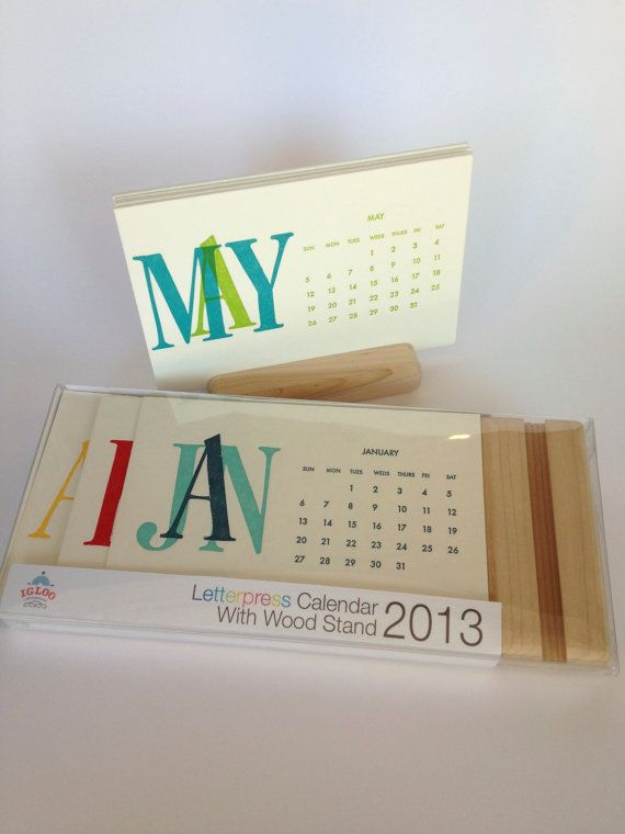 2014 Letterpress Desk Calendar with Wooden by IglooLetterpress, $24.00