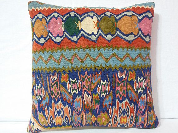 Modern Bohemian Kilim Pillow Cover  Handwoven Anatolian by DECOLIC, $55.00