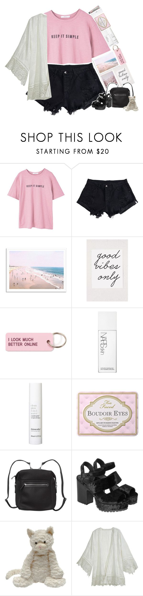 """""""."""" by loldonutsss ❤ liked on Polyvore featuring MANGO, WithChic, Urban Outfitters, Various Projects, NARS Cosmetics, This Works, Monki, Conair, Jellycat and Calypso St. Barth"""