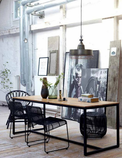 dining / work table black metal legs and wood top with nice art collection open