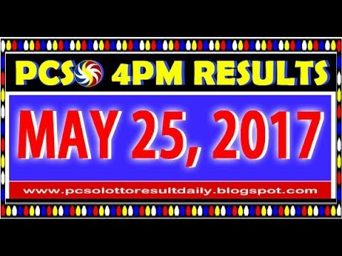 PCSO MidDay - 4PM Results May 25, 2017 (SWERTRES & EZ2)