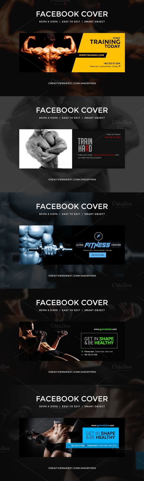 Gym Workout facebook covers by Angry Pen on @creativemarket