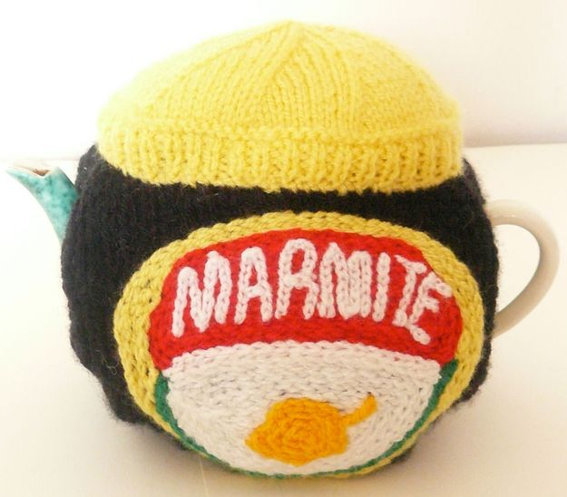 This Marmite tea cosy. | The 25 Most British Things That Have Ever Been Knitted