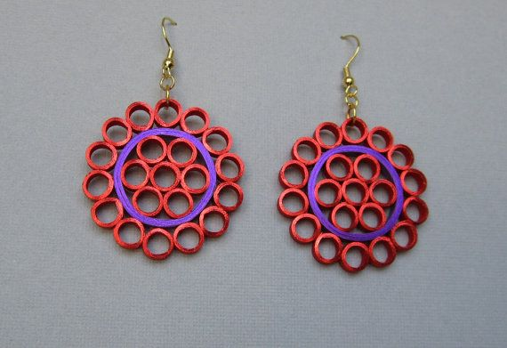 Quilling Earrings Red and Purple Metallic Edged by BarbarasBeautys