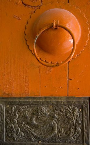 Door Handle ~ Ki Monastery, Spiti Valley, India: Green Collection, Doors Handles, Hardware, Picture-Black Posters, Orange Doors, Graphics Design, Ki Monasteri, Doors Knockers, Paisley Panels