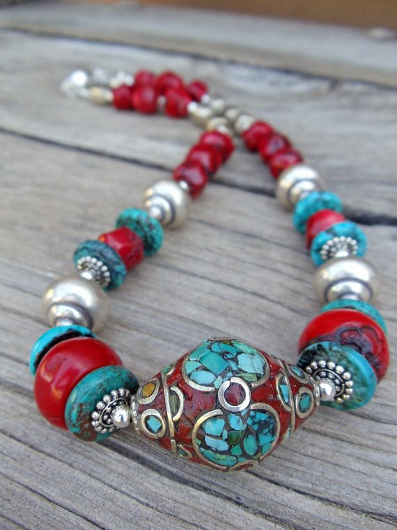 Red Coral and Turquoise Tibetan Mosaic Focal by hogwildjewelry, $138.00
