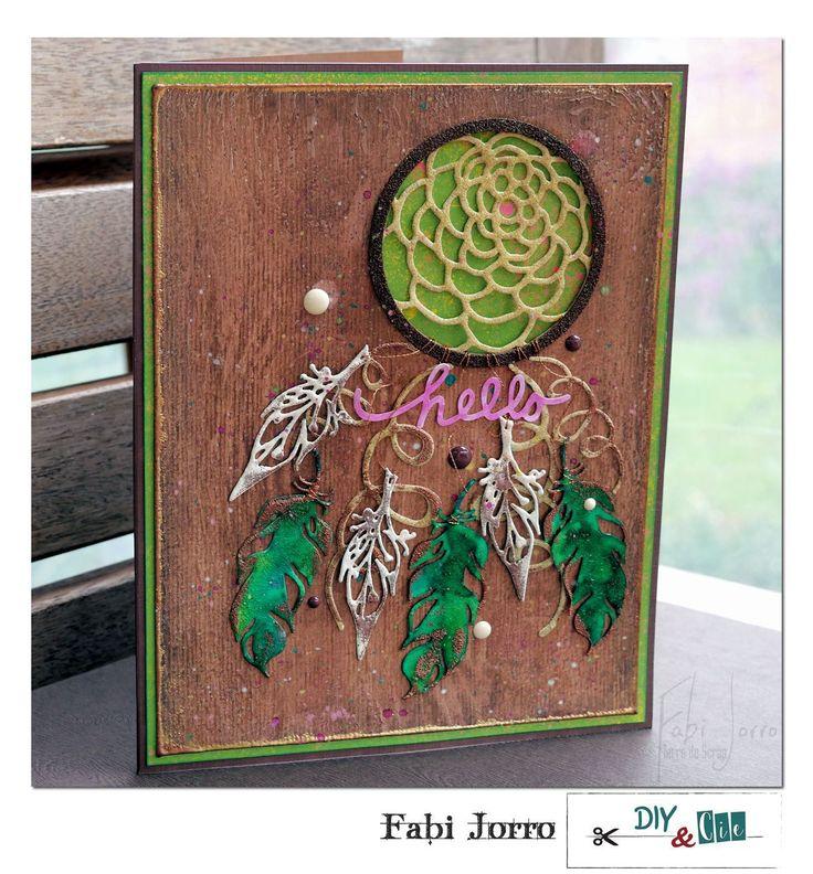 Carte Fabi Jorro, pivoine, love, jolies plumes