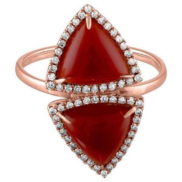 4.00 Carat Trillion Carnelians And Diamond Gold Ring ($900) ❤ liked on Polyvore featuring jewelry, rings, fashion rings, multiple, gold jewellery, gold diamond jewelry, carnelian ring, gold diamond rings and yellow gold rings
