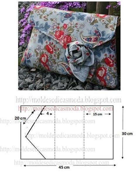 Desenhe em papel com as medidas da imagem o molde da pochete em tecido florido. Depois de obter o molde sobreponha-o sobre o tecido e corte a parte exterio