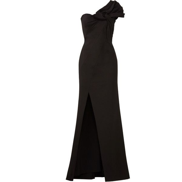 Aidan Mattox Black Bow Crepe Gown (200 BRL) ❤ liked on Polyvore featuring dresses, gowns, aidan mattox ball gown, aidan mattox evening gowns, bow dress, crepe dress and aidan mattox evening dresses