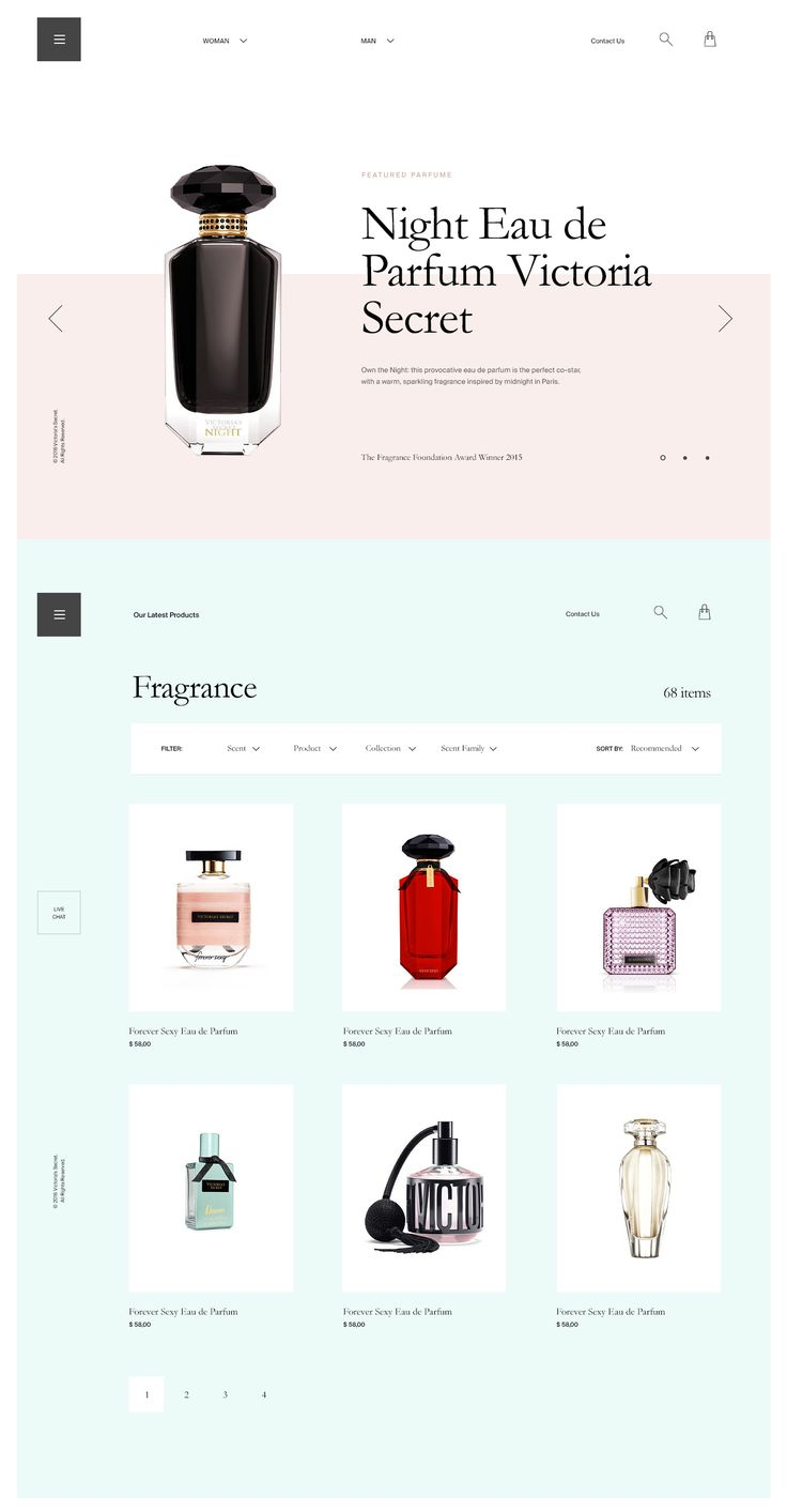 #layout #typography #elegant #ecommerce #parfume #minimal https://dribbble.com/shots/2440486-Parfume-Website-Layout
