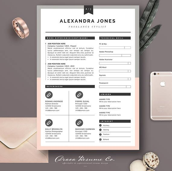 Check out this item in my Etsy shop https://www.etsy.com/listing/523375358/resume-template-3pages-for-freelancer