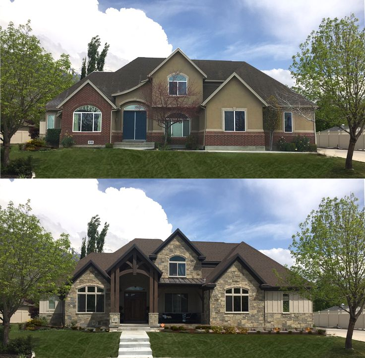 Before And After All Of The Stucco And Brick Was Removed