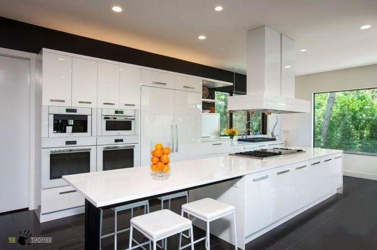 Kitchen, Elegant Long White Kitchen Island Storage Stylish Dining Stools Recessed Lamps Decoration Stoves.jpg: Amazing Great