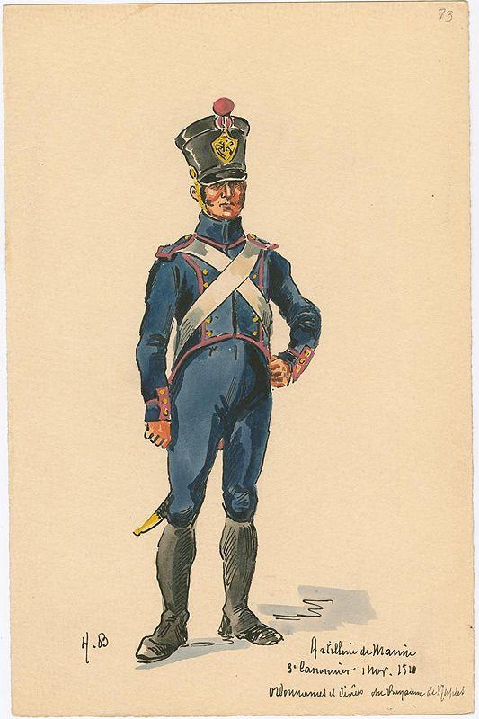 Naples; Marine Artillery, 3rd Class Gunner, Grande Tenue, 1810