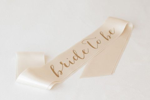 Classy Hen Party Sash | Gold and Ivory Bride to Be Sash | HenBox.co.uk